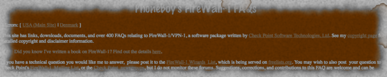 Ye Olde PhoneBoy FireWall-1 FAQ is Back…In A Manner of Speaking